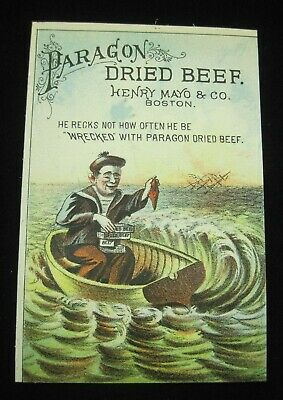 Paragon Dried Beef Victorian Trade Card Henry Mayo Shipwrecked Sailor B1