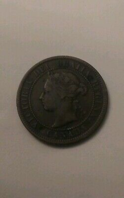 1884 CANADA LARGE CENT one 1 penny copper coin Queen Victoria