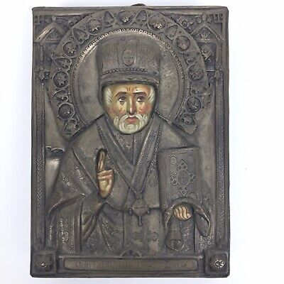 ANTIQUE 19c 84 SILVER OKlad RUSSIAN Icon ST.NICHOLAS Hand Painted Original Cond