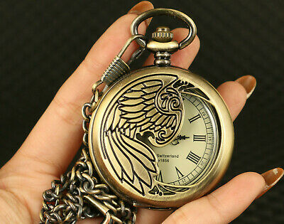 Rare chinese old copper hand caved statue Machinery pocket watch colletable gift