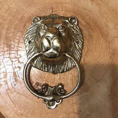 "Vintage Solid Brass Lion Head Door Knocker with Strike Plate 7"" In Original Box"