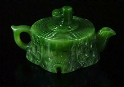 Old Chinese Spinach Green Nephrite Jade Teapot TREE TRUNK STY TOP QUALITY