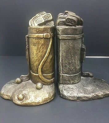 VINTAGE BRASS GOLF BAG BOOKENDS Golf Club Golf Ball EXTREMELY HEAVY CAST BRASS