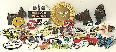 Large Vintage Pin Pinback Button Lot- Sports Political Sayings Humor Advertising