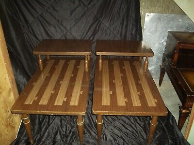 2 VTG Mid Century Modern End Side Tables 2 Tier With Drawers Retro 1960's Pair