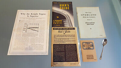 Pontiac 1938 Owners User Guide Plus 0Verland & 1934 Standard Literature.
