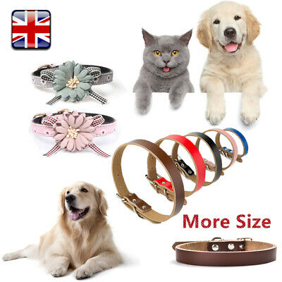 Dog Collar Pet Cat Puppy Adjustable Strong Real Leather Flower Collar Neck Strap