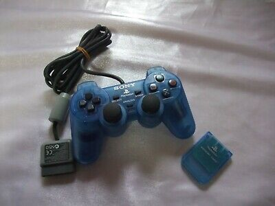 Official SONY PlayStation 1 Ocean Blue DualShock Controller & Memory Card PS1