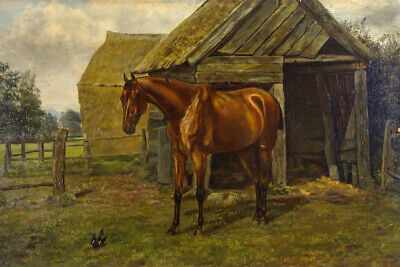 Fine Early 20th Century Oil - Horse in Paddock