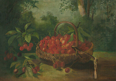 Early 20th Century Oil - A Basket of Cherries