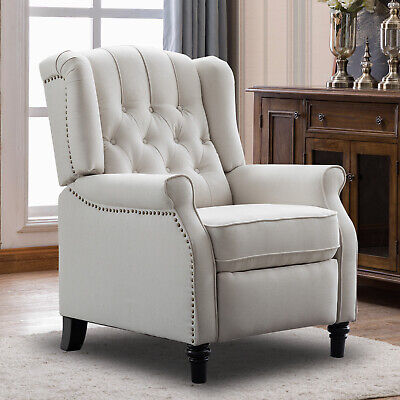 Elizabeth Push Back Arm Chair Recliner Padded Seat Sofa w/Tufted Back Home Decor
