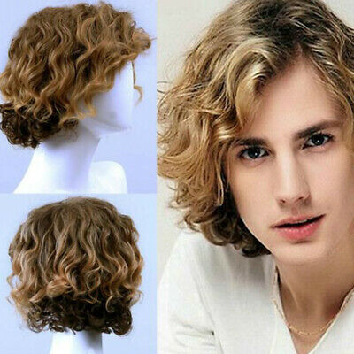Mens Short Wavy Curly Wigs  Hairpieces Clip in Hair Pieces Male Costume Blonde