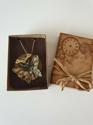 Vintage STEAMPUNK butterfly Necklace made from clock pieces jewellery