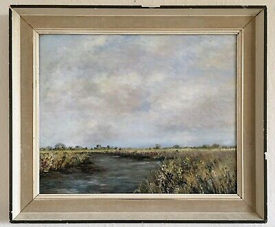 Impressionist Vintage Oil Painting Of A Rural Scene With River. Signed.