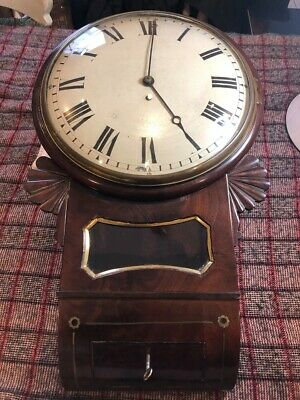 19th CENTURY  DROP CASE  CONVEX DIAL CONVEX GLASS   FUSEE  WALL CLOCK