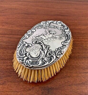Mauser Mfg Co. Sterling Silver Clothes Brush Art Nouveau W/ Cherub & Flowers
