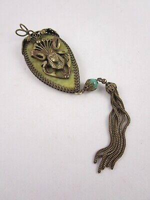 Gorgeous Neiger Brothers Egyptian Revival Czech Brass Celluloid Glass Pendant