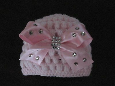 Romany Bling hand crochet Baby Girls Pink Beanie Hat 0-3mths.