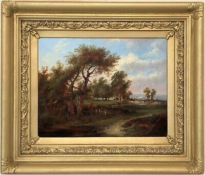 A Rural Landscape Antique Oil Painting Mid 19th Century English School