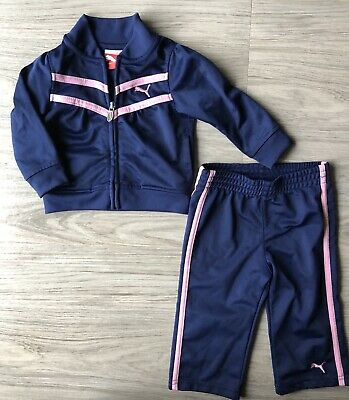 Puma Baby Girls Track Suit Outfit Size 12 Months Navy Blue Pink EUC Zipper