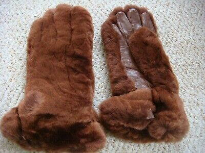 Vintage 1940's CC41 Utility Leather & Faux Fur ? Gauntlet Teddy Bear Gloves XS