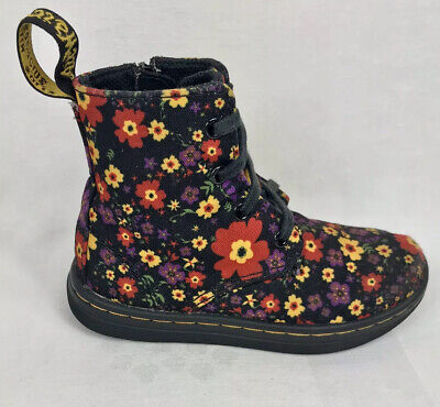 Dr Martens Girls Laney Floral Zip And Lace Up Boots  Sz 8