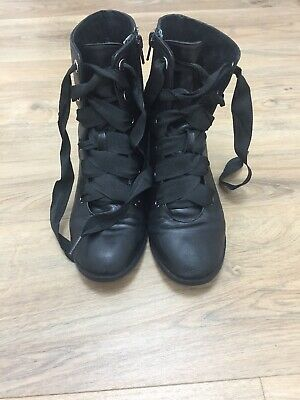 Zara Girls Faux leather black Biker boots shoes Size uk 4