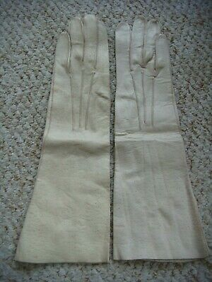 Vintage 1950's Cream Kid Leather Long Gloves No 581 Size 7
