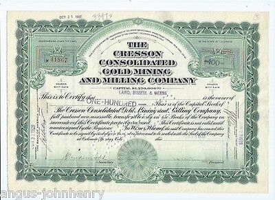 1928 CRESSON GOLD MINING & MILLING CO. inc. COLORADO STOCK CERTIFICATE #41867