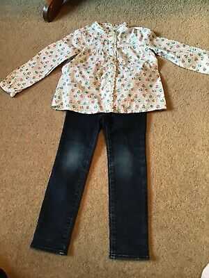 Bnnt Lovely Girls Small (2) Bundle Floral Bouse & Skinny Jeans Age 4/5 Years