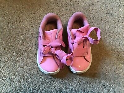 Lovely Pair Little Girls Pink Patent Puma Basket Trainers Size Uk 8