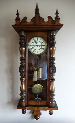 Antique Victorian Vienna Regulator Weight Driven Wall Clock by Kienzle Germany