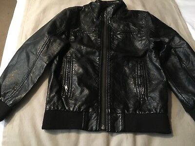 Lovely Girls Black Faux Leather Bomber Jacket H & M Age 6/7 Years