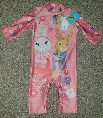 Bnwt Pretty Girls Pink Peter Rabbit Sun Safe Uv Swim Outfit, By Tu, Age 3 Years