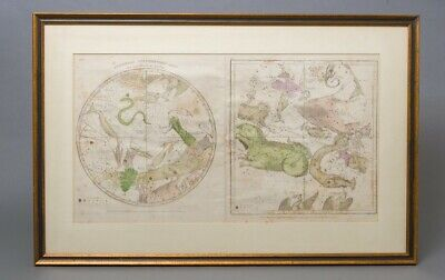 1835 Burritt/Huntington Southern Circumpolar Map & The Constellations Dec-Oct
