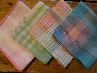 4 Vintage Brightly Coloured Checked Ladies Hankies Handkerchiefs. Pink, Green