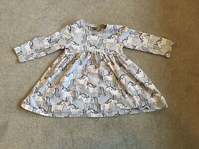 Next Grey Unicorn print long sleeved Dress top age 12-18 Months