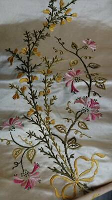 EXQUISITE ANTIQUE FRENCH HAND EMBROIDERED SILK PANEL 19th century