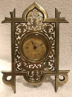 Antique fretwork brass Victorian timepiece - British United Clock Co.