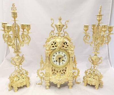 Beautiful Antique French 19th C Gilt Pierced Bronze Mantle Clock Garniture Set