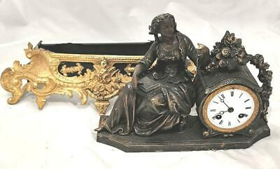 Antique Mantle Clock French 8 Day 2 Tone 2 Piece Figural Gilt Spares Or Repair