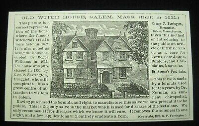 Cool 1870-80 Trade Card Dr. Norman's Foot Salve Old Witch House Salem, MA B3