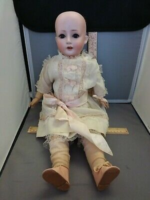 """RARE REVALO German Bisque Wood GEBRUDER OHLHAVER 22"""" T Ball Jointed Sleepy Eyes"""
