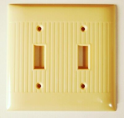 NM Vintage ART DECO IVORY Bakelite Double 2 Switch Wall Plate Cover Mid Century