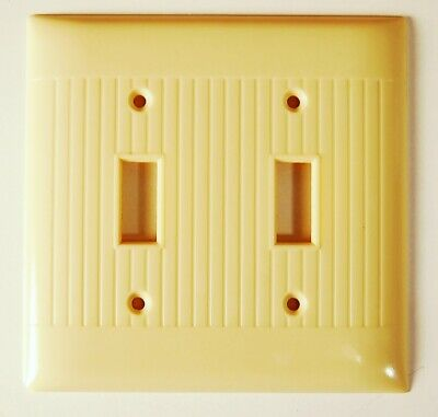 VG- Vintage ART DECO IVORY Bakelite Double 2 Switch Wall Plate Cover Mid Century