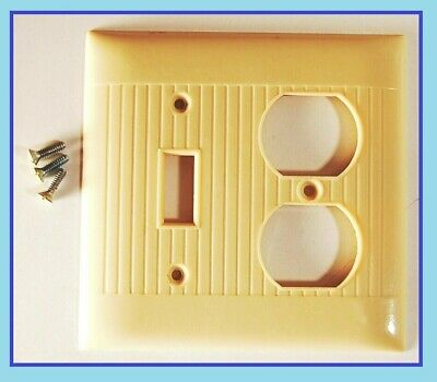 Vintage ART DECO IVORY Bakelite SWITCH OUTLET Wall Plate Cover Mid Century Screw
