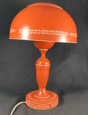 Vintage Brick Red Metal Tole Table Lamp White Details Dome Shade Tall *WORKS!*
