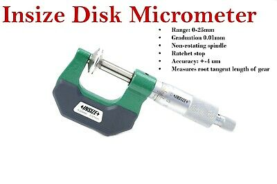 Insize 3294-25 non-rotating spindle disk micrometer  0 - 25 mm w/ ratchet stop