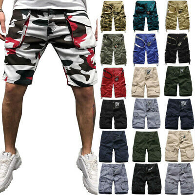 Men Camo Cargo Shorts Casual Military Army Camo Combat Short Pants Trousers Size