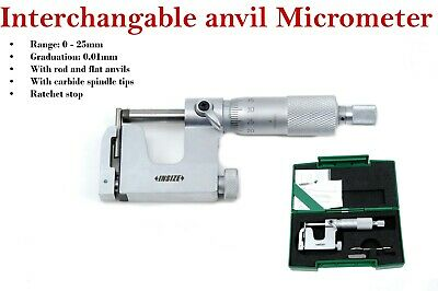 Insize interchangeable anvil micrometer 3239-25A 0 - 25 mm w/ flat and rod anvil